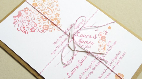Bird Wedding Invitation: Love Birds Wedding Invitation SAMPLE By STNstationery On Etsy