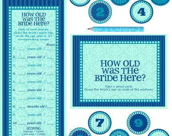 "Instant download - Bridal Shower / Bachelorette Party Game - How old is the bride here - BLUE TURQUOISE - 10X8"" Frame Opening"