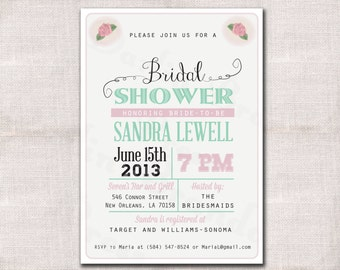 Bridal Shower Invitation custom printable 5x7