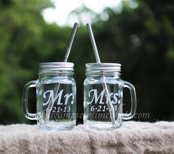 Mr. & Mrs. Set of 2 Handled Mason Jar To Go Cup With Stainless Steel Straw 16oz Eco Friendly