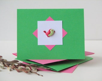 bird cards set of 4, bird note cards, colorful note cards