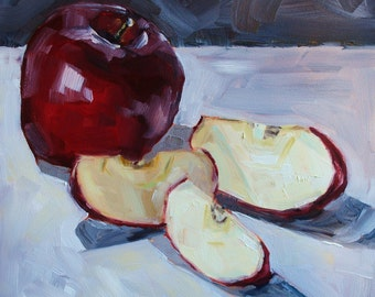 Still Life Fruit Painting - Original Oil - Sliced Red Apple - 8 x 8