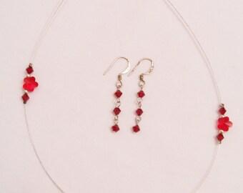 Red Swarovski crystal flower necklace and droplet earring set - red jewelry set - Swarovski jewelry set - red crystal earrings