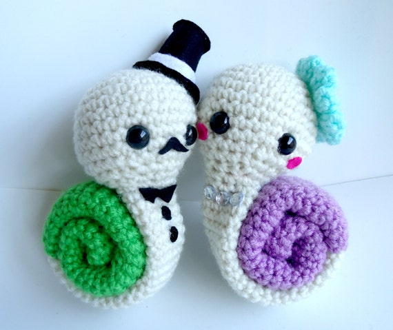 Crochet Wedding Gifts Patterns: Items Similar To Amigurumi Couple Snails Crochet Plush