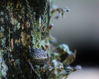 A Secret Wish. Reliquary. Antiqued Brass Wish Ball Secret Compartment Charm on Long Brass Chain