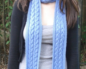 Baby Blue Braided Cable Scarf