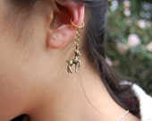 Thin Ear Cuff with a Dangling Deer