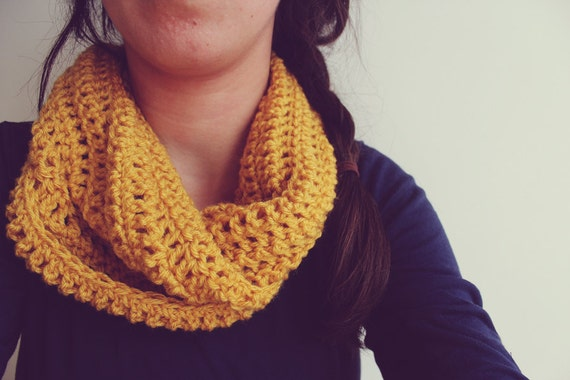 Cozy and warm crochet infinity scarf - mustard yellow - eternity scarf - handmade - chunky scarf - winter fashion accessory - crochet cowl