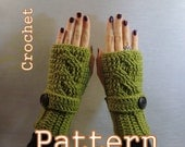 PDF Crochet Pattern - Twisted Cable Fingerless Mittens - Instant Download