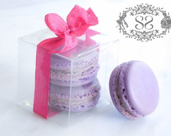 Wedding Favors French Macaron Favor Baptism Communion Favor Box and (2) French Macaroon