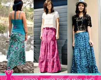 Ladies Tiered Maxi Skirt PDF Pattern & Tutorial (PE1303) - INSTANT Download