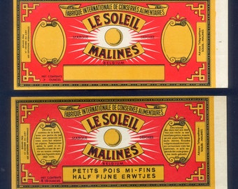 1920's Vintage French Vegetable Can Labels from Belgium - Altered Books, Collage, Decoupage