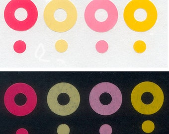 Brightly Coloured Circle Stickers  -  Collage, Mixed Media, Artist Trading Cards