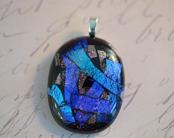 Glass Pendant - Blue Glass Necklace - Fused Glass Jewelry - Glass Necklace - Dichroic Glass Jewelry  -  FUSED GLASS - Fused Pendant