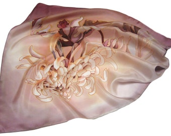 "Hand painted silk scarf ""Chrysanthemum. Mocha."" .  Made to order."