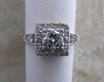 Platinum Vintage Diamond Engagement Ring Circa 1950