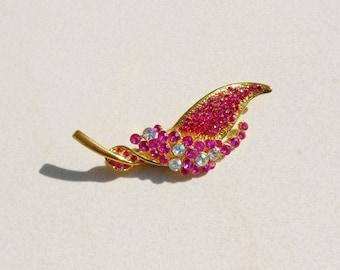 Vintage pink leaf brooch, 1960s girly Leaf pin in hot pink and clear rhinestones encrusted metal