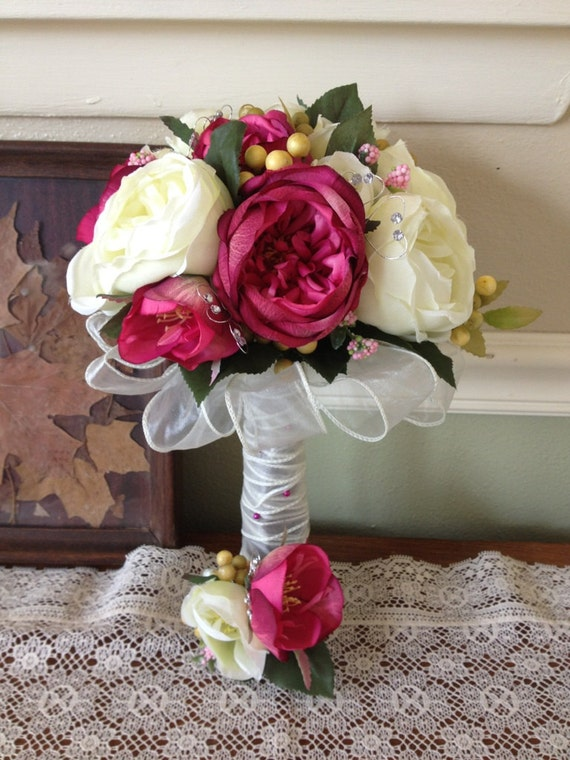 Bridal Bouquets With Cabbage Roses : Raspberry ivory and pink cabbage rose elegant silk bridal