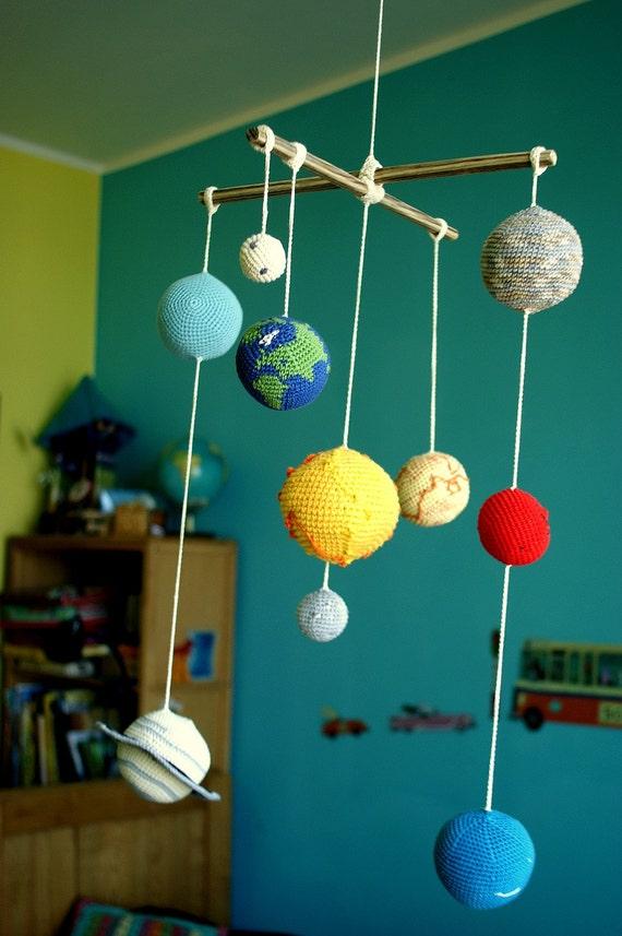 Solar System Planets Mobile Crochet Baby Mobile - Hanging solar system for kids room