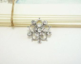 Crystal Flower Rhinestone Button (20mm, 1 pc)
