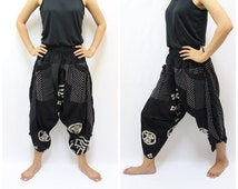 Japanese Style in Samurai Pants in Black, Trouser, Baggy pants, Yoga 100% Cotton(Unisex) One Size Fit All...New