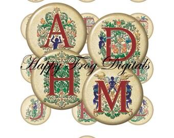 Decorative alphabet -  12, 14, 16, 18, 20 mm circles - Digital Collage Sheet - 040 HFD - Printable Download - Instant Download