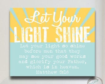 Religious Gift Let Your Light Shine  Canvas Print Poster Art Scripture Bible Verse Matthew 5:16 Quote Nursery Art Baby Shower Gift Yellow