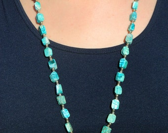 """Egyptian Revival Turquoise colored scarab 32"""" ceramic beaded necklace with hieroglyph etched beads / Vintage square ceramic beaded necklace"""