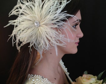 ATHENA Ivory Ostrich Feather Bridal Hair Ornament