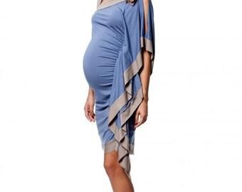 Asymetric Maternity Dress, Elegant Dress, Light Blue Dress, Baby Shower  Dress For Women