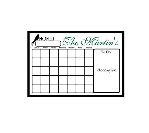 Extra+Large+Dry+Erase+Calendar Items similar to DRY ERASE Personalized ...