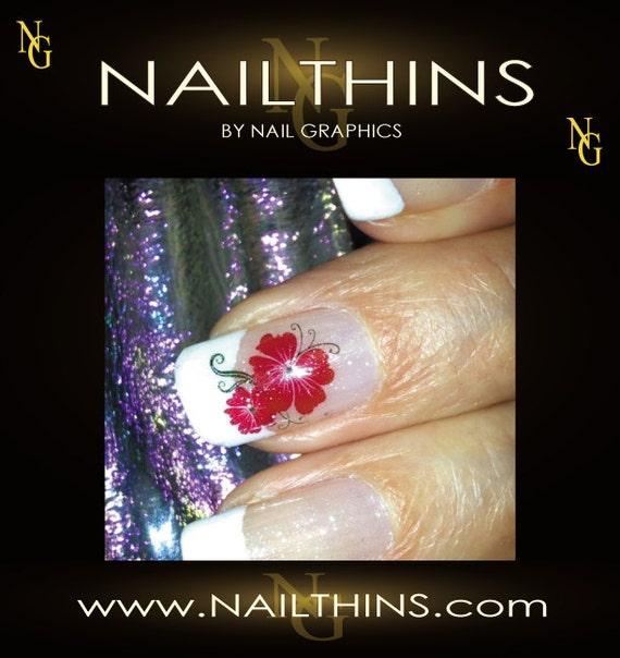 Red Flower Hawaiian Nail Art Nail Decal Nail Design by NAILTHINS
