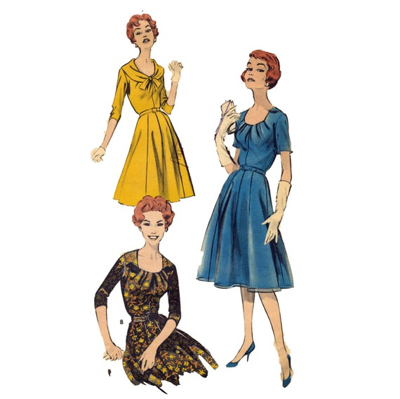 Draped Gown Pattern: 1960s Draped-neckline Dress Vintage Sewing Pattern 40 Bust