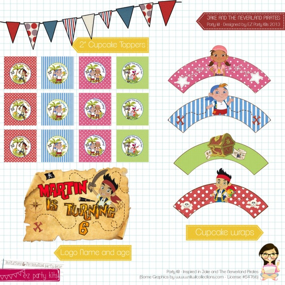 Printable Jake And The Neverland Pirate Party Kit By Ezpartykits