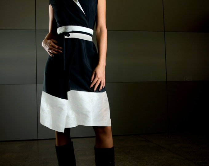 silk wrap dress in kimono style: black an white shantung wild silk