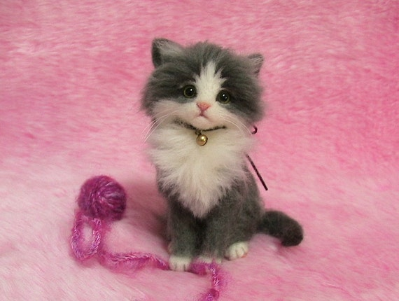 Needle Felted Gray Amp White Fluffy Kitten With A Yarn Ball