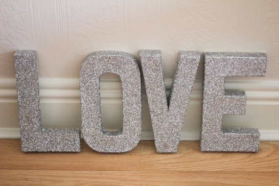 8 free standing silver glitter letters love by jandodesign for Glitter cardboard letters