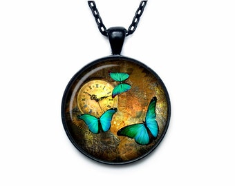 Steampunk clock pendant Steampunk clock necklace Steampunk watch jewelry for men for her