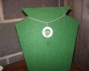 Seaglass/Lakeglass silver and mother of pearl necklace.