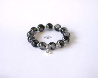 Natural AAA grade Black Tourmalated Quartz 12mm Beads Stretch Bracelet with Sterling Silver Charm and Sterling Silver beads, ref:111912