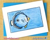 Angel Fish- Greeting Card- Small- Blank Card- Watercolor, Watercolour Art Card- Fish Card- Water Card- Blue Card- Ocean Card- Unique Card