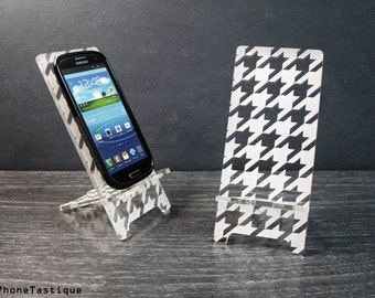 Android Cell Phone Stand Docking Station For Samsung Galaxy S5 S4 S3 Houndstooth Pattern Hollywood Regency