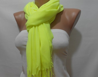 Yellow Pashmina Scarf Neon Yellow Cowl Scarf Fringe Neon yellow Scarf Holiday Fashion Accessories Christmas Mothers Day Gift Ideas For Her