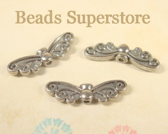 SALE 22 mm x 6 mm Antique Silver Wing Bead / Charm - Nickel Free, Lead Free and Cadmium Free - 10 pcs (CH83)