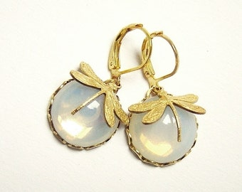 "Earrings Dragonflies ""Shimmering Opal"""