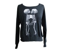 Siamese Twins Raglan Sweater - Skeleton Anatomical American Apparel SOFT vintage feel - Available in sizes S, M, L