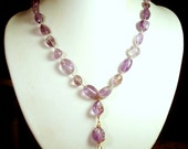 Purple FLUORITE & COPPER Chunky Beaded Statement Necklace - Handmade Wire Wrapped Gemstone Y Necklace