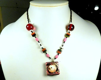 Funky Rainbow Beaded GUINEA PIG Necklace - OOAK Handmade Photo Jewelry with Wood Shell Pressed Glass & Polymer Clay