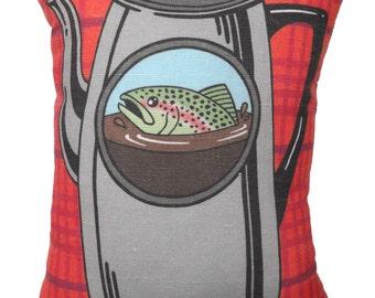 Fish in the Percolator Pillow - Twin Peaks Tribute