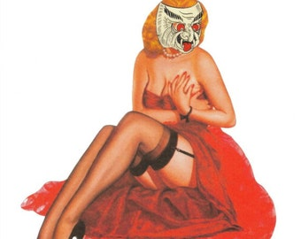 OOAK Artwork, Original Collage Art, Lowbrow Wall Art, Psychobilly Art, Pinup Girl Artwork, Strange Monster Art, Weird Oddity, Paper Collage